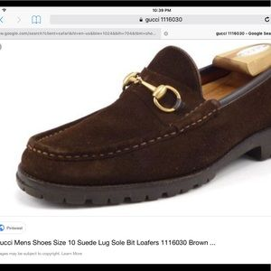 Gucci brown suede horse bit  loafer
